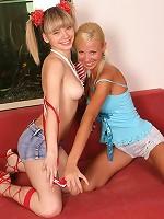 Horny teens pull down their panties