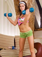 Nubiles.net Gala - In the middle of her workout Nubile Gala strips off her clothes exposing her pussy